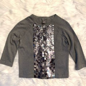 Ann Taylor gray sequin 3/4 sleeve crop cardigan